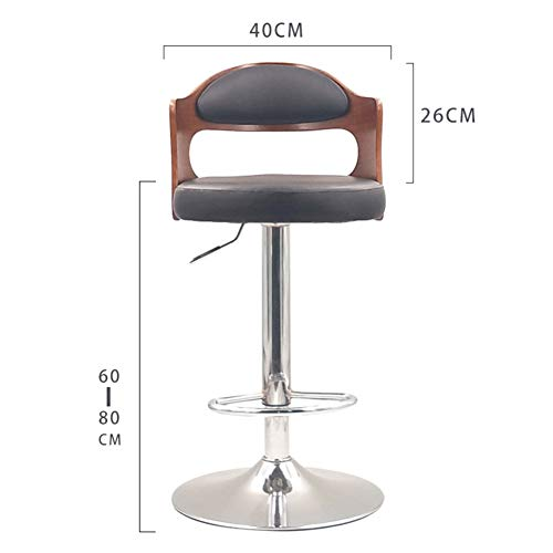 (Modern Swivel Barstools, 24 Inch Height-Adjustable High Stool with Backs Solid Wood Pu Leather Pub Chair Counter Bar Stool Chair for Bar Home-Black A)