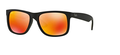 Ray Ban RB4165 622/6Q 55M Rubber Black/Brown Mirror - Mirror Sunglasses Orange