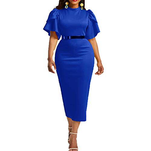 soAR9opeoF Party Women Sexy Dresses Solid Color Pleated Short Sleeve Round Neck Bodycon Maxi Dress Blue L