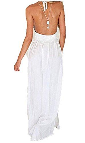 SHUNLIU Damen Spitzenkleid Maxi Dress Strandkleid Aushöhlen V-Ausschnitt Böhmischen Rückenfrei Maxikleid Strap Chiffon Langen Sommerkleider Neckholderkleider Weiß