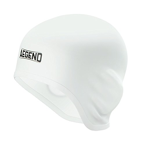 (Aegend Solid Silicone Swim Cap, Comfortable Fit Swim Caps Swimming Cap for Men Women Adults Youths, 3D Ergonomic Design, White)
