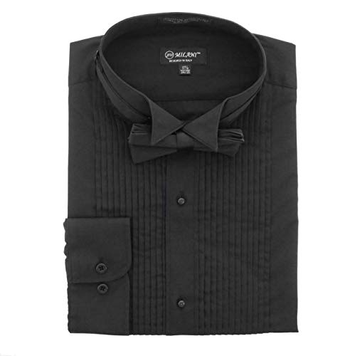 Wing Collar Formal Shirt - Milani Wing Collar Tuxedo Shirts with Standard Cuffs & Bow Tie (16.5