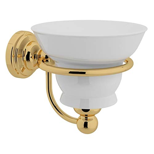 (Rohl U.6928IB Inca Brass Perrin and Rowe Wall Mounted Soap Dish Holder with White Porcelain)