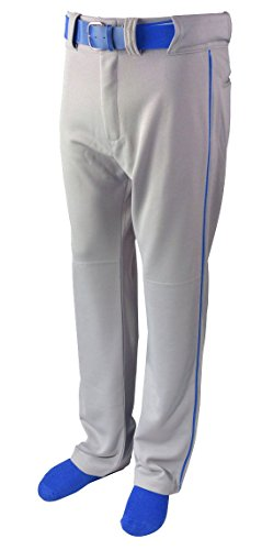 New Martin Baseball Softball Grey Belt Loop Pants w Royal Blue Piping Youth XS-XL (YM)