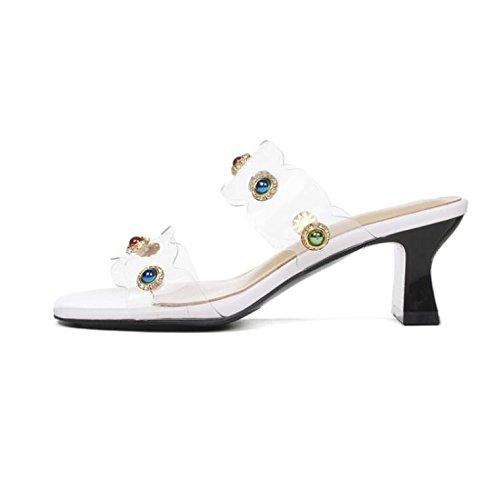 Sandalias, Zapatos de Mujer de Desgaste de pie de Estilo Nuevo de Verano, Sandalias Gruesas y Zapatillas de Hebilla de Perlas Coloridas 38 EU|Blanco