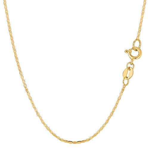 14K Yellow Gold 1.2mm Shiny Mariner-Link Chain Necklace for Pendants and Charms with Spring-Ring Clasp (16
