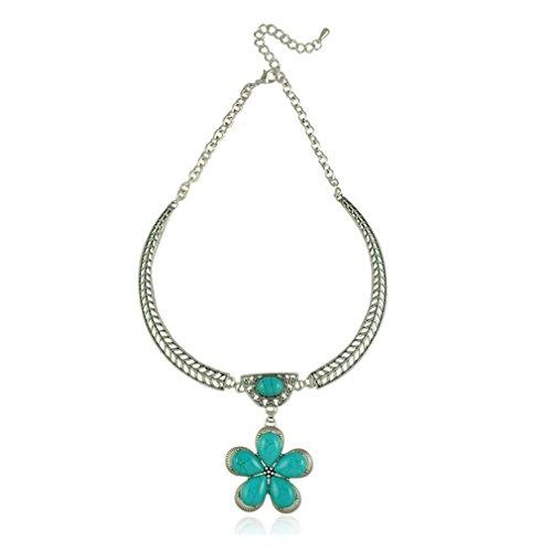 Bird T Costume Homemade (G&T Retro European Flower Pendant Necklace Colorful Turquoise)