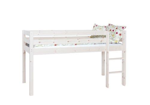 Steens Furniture 3316130013000F Halbhochbett Tom, Kiefer massiv, weiß lasiert, inklusiv Rost, 65 x 65 mm Pfosten