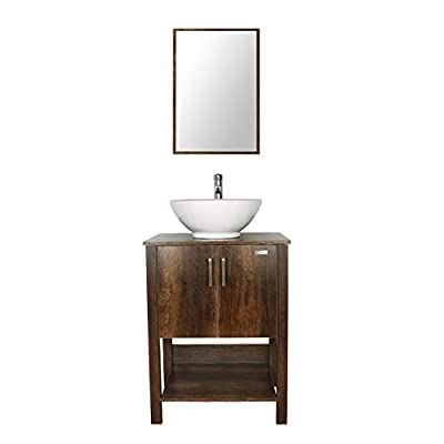 "eclife 24"" Bathroom Vanity Sink Combo Brown Cabinet W/Round White Ceramic Vessel Sink, Chrome Bathroom Solid Brass Faucet and Pop Up Drain Combo, W/Mirror (A06 B12C) - ❤WATER SAVE: 1.5 GPM faucet aerator help to save 30% water; 3/8'' Connector Hot/Cold Water supply hose; 23-5/8"" Long water supply lines; Durable Chrome faucet; Pop up drain; Mirror. ❤ECO-FRIENDLY: MDF eco-friendly material used to make vanity more durable and sturdy; 15mm Thickness and smooth surface board, easy to clean and wear-resistance. ❤EASY to INSTALL: Need to be self-assemble, delicate design make it easy to assemble; Small body includes maximized storage, more convenient and flexible for you to use. - bathroom-vanities, bathroom-fixtures-hardware, bathroom - 310ubGfjmVL. SS400  -"