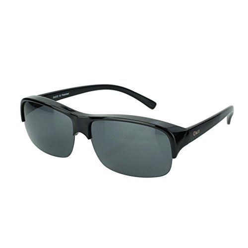 Duco Semi Rimless Sunglasses For Prescription Glasses Unisex Polarized Sunglasses 8953T (Black Frame Gray Lens, Lens Height-40MM)