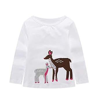 BIBNice Baby Girls T-Shirt Toddler Fall Long Sleeve Top Kids Cotton Tee Size 2T
