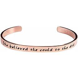 She Believe she Could so she did Inspirational Bracelet Cuff Bangle (Pink Rosegold (Standard Size))
