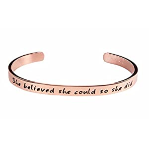 Kendasun Jewelry She Believe she Could so she did Inspirational Bracelet Cuff Bangle