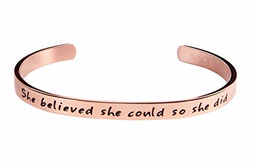 Kendasun Jewelry She Believe she Could so she did Inspirational Bracelet Cuff Bangle (Pink Rosegold (Standard Size))