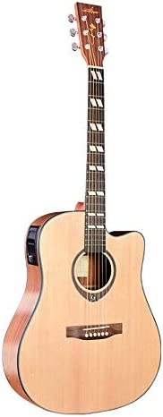 アコースティックギター フォークギターエレクトリックボックスアコースティックギター初心者エントリ練習ピアノ 初心者セット (色 : Natural, Size : 41 inches)