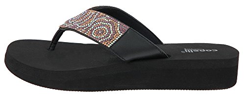 Capelli New York Ladies Flip Flops with Multi Crystal Embellishment Trim Black Combo 11
