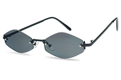 SunglassUP 90's Retro Vintage Small Tiny Narrow Rimless Oval Geometric Designer Color Tinted Sun Glasses (Black Frame | ()