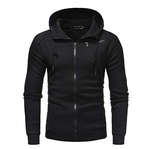 kaifongfu Tops,Autum Winter Mens Zipper Patchwork Long Sleeve Hooded Tops Sweatshirt Cardigan(Black,2XL)