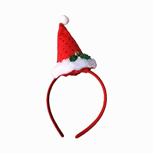 (BESTOYARD Santa Hat Headband Christmas Hat Headband with Mini Hat Bell Sequins Novelty Hair Band Head Band Christmas Costumes Accessory Party Decoration)