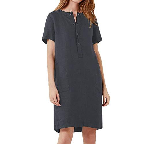 Foil Ladies T-shirt - tee Shirt Dresses For Women Summer Short Sleeve Linen Dress Loose A-line Party Sundress Button Dress (Gray,XXXXXL)