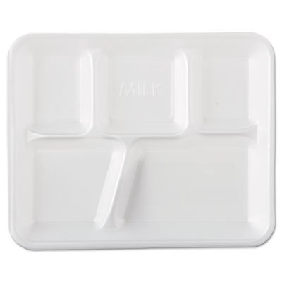 Genpak 10500 Foam School Trays, 5-Comp, 10 2/5 x 8 2/5 x 1 1/4, White (Case of 500)