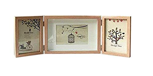 Baby Birth Keepsake Frames 2-Opening Hinged Collage Frame with Middle Shadow Frame,3 Photos Show Photo Frame Silver-Color Hinges,Folding Photo Frame With Glass Front (Slide Pin) (4x6, Wood -
