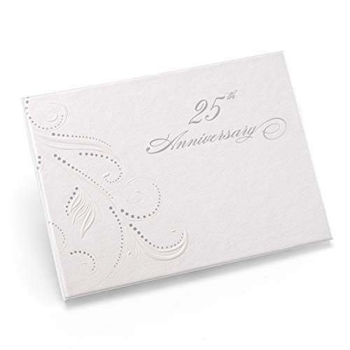 Hortense B. Hewitt Wedding Accessories 25th Anniversary Swirl Dots Guest Book, White