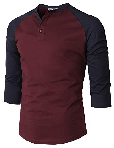 H2H Mens Casual Premium Slim Fit T-Shirts Henley 3/4 Sleeve Cotton Blended WINENAVY US M/Asia L (CMTTS239)