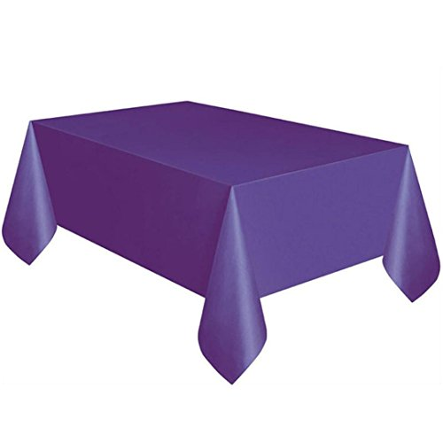 LiPing 183x137cm(72x 54in)Plain Colour Disposable Plastic Tablecloth Rectangle Table Cover (Purple)