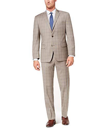 - Michael Kors Men's Classic-Fit Plaid Suit (Tan/Blue, 38S 31W)
