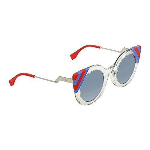 Fendi FF 0240 1ED Waves Green Crystal Plastic Cat-Eye Sunglasses Blue Gradient ()