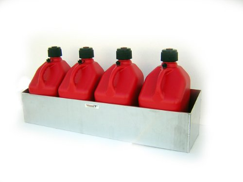 Pit Posse 431 Fuel Jug Quad 4 Holder Aluminum Storage Race Car Trailer Shop Garage Organizer