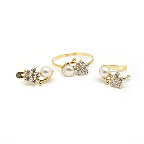 a5a433e70db1 Juego de Anillo y Pendientes de Oro 18 klts de ley con perla cultivada de  5mm