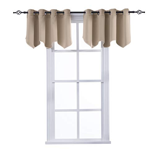 Aquazolax Window Treatments Blackout Scalloped Valances Solid Decorative Curtain Valance with Grommets Top, 52inch by 18inch, Taupe/Khaki, 1 Pair ()