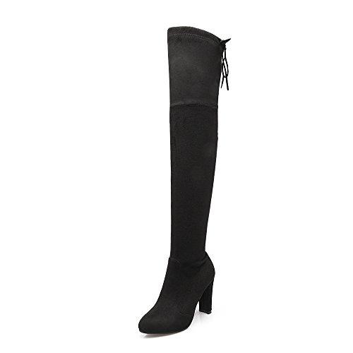 Lucyever Dames Dij Hoge Laarzen Over De Knie Stretch Faux Suede Blokhak Lange Laarzen Big Size Zwart