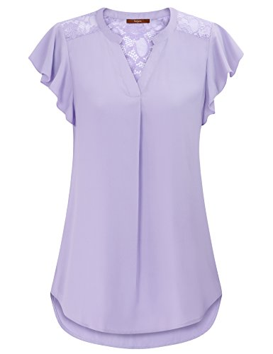 Gaharu Tops for Women, Women Blouses for Work Frill Sleeve Notch Neck Lightweight Pleated Flowy Chiffon Tees Soft and Cozy Going Out Tops Light Violet,Large (Sleeve Chiffon Top Frill)