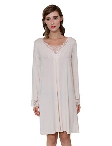 QIANXIU Womens Skirt new classic solid color 100 percent cotton fiber soft nightdress Milk Yellow X-Large - 100 Percent Skirt