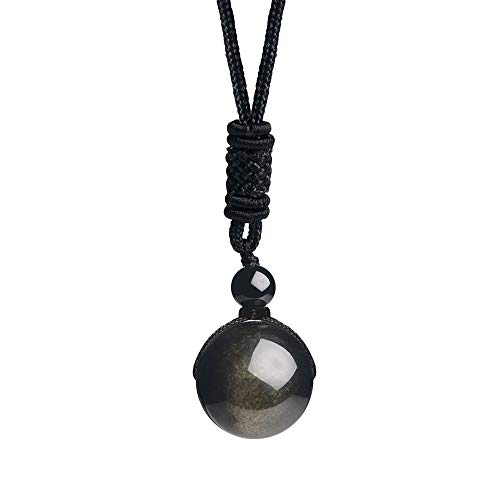 iSTONE Unisex Genuine Round Gemstone Beads 20mm Gold Sheen Obsidian Pendant Necklace with Adjustable Nylon Cord 24 Inch