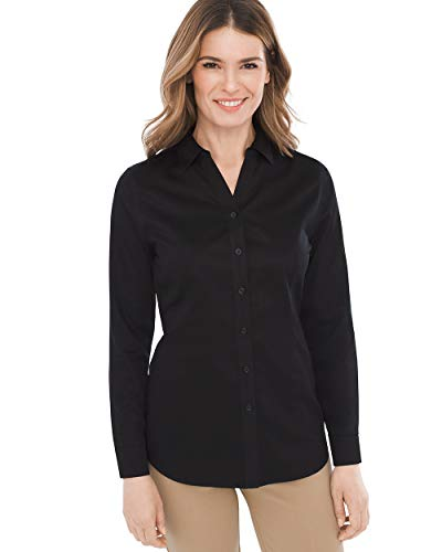 Sateen Stripe Cotton Dress Shirt - Chico's Women's Caroline No-Iron Cotton Sateen Button-Up Shirt Size 20/22 XXL (4) Black