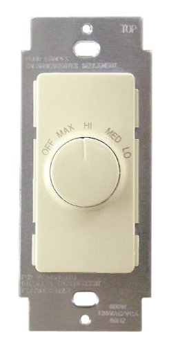 Ivory Wall Control - Leviton RTF01-10I Decora IllumaTech Quiet Fan Speed Control, Ivory