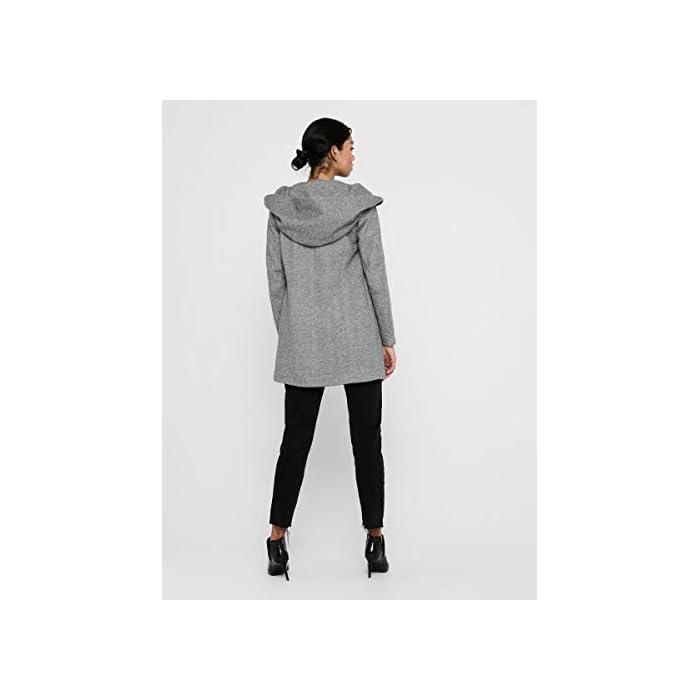 Abrigo de lana con capucha. Abrigo largo de entretiempo. 85% Poliéster, 15% Algodón