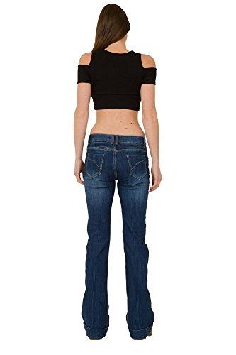 Bootcut Jean mi Stretch Taille Bleu Cindy H Flare qxXCwB