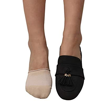 TETIBA Women's Premium Cotton Mule Clog Toe Topper No Show Half Liner Socks With Non-skid Bottom 2 to 5 pairs at Women's Clothing store
