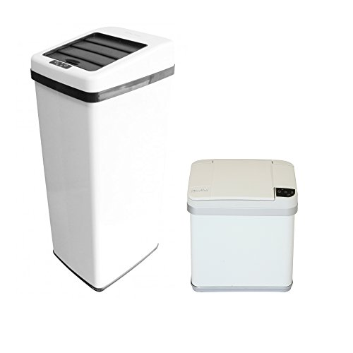 iTouchless (Set of 2) Automatic Sliding Lid Trash Can 14 Gallon and Deodorizer Sensor Waste Bin 2.5 Gallon, Perfect For Kitchen, Bathroom and Office (White/Matte White)