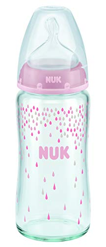 NUK First Choice+ Glass Baby Bottle 240 ml Size 1 Medium 0-6 Months with Anti-Colic Teat Made from Silicone for Milk ()