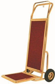 Aarco HT-2B Bellman Brass Hand Truck with Pneumatic Wheels