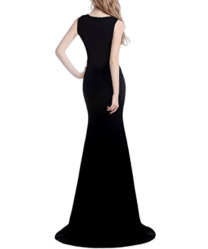 Ausschnitt mit V Damen Schwarz Ballkleider Schlitz Abendkleid A Lila 38 Linie Langes Perlen Zurück Dehnbar Durchsichtig Formale UwYTYI