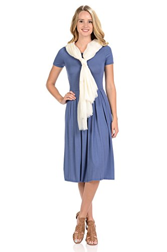 iconic luxe Women's Short Sleeve Pleated Midi Dress with Pockets Large Denim - Dress Knit Stretch Denim