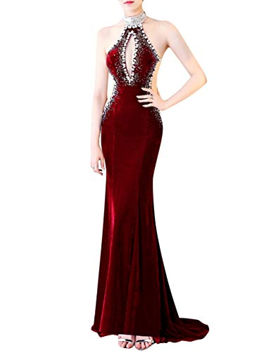 Evening Mermaid Bridal Dress Burgundy Keyhole Women's Velvet Backless Prom Bess Beaded 7wA1qHExp