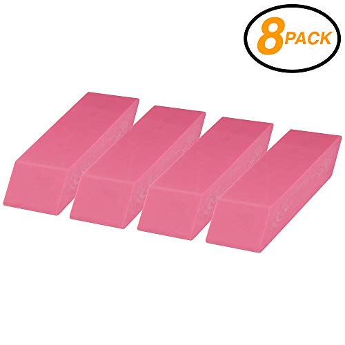 (Emraw Color Pink Soft Pencil Bevel Latex Free Eraser Rubber - Used in School, Office, Home Etc.(8-Pack))